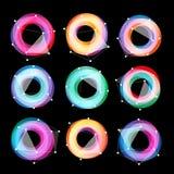 异常的抽象几何形状传染媒介商标集合 在黑背景的圆五颜六色的略写法收藏 免版税库存照片