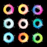 异常的抽象几何形状传染媒介商标集合 在黑背景的圆五颜六色的略写法收藏 免版税图库摄影