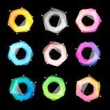 异常的抽象几何形状传染媒介商标集合 通报,在黑色的多角形五颜六色的略写法收藏 免版税库存照片