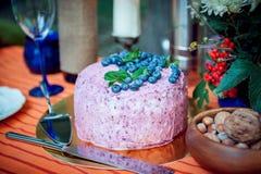异常的蓝莓奶油蛋糕 图库摄影