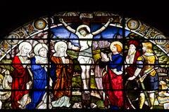 弄脏圣尼古拉斯教会,阿伯丁,苏格兰的柯克玻璃窗  库存照片