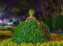 式样-女性玩偶佩带的树礼服在夜 免版税库存图片