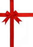 弓交叉红色丝带 免版税库存图片