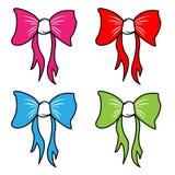 弓传染媒介动画片蝴蝶结或丝带装饰的礼物在圣诞节或Birtrhday党例证集合 皇族释放例证