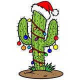 弓分行仙人掌圣诞节箔金子停止丝带 向量例证