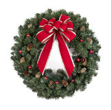 弓圣诞节红色花圈 库存图片