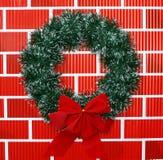 弓圣诞节花圈 库存照片