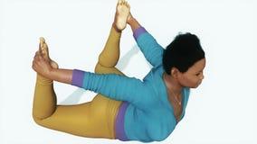 弓姿势瑜伽关闭的弯曲的非洲妇女4K 库存例证
