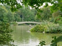 弓桥梁在秋天中央公园 免版税库存照片