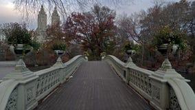弓桥梁秋天颜色在纽约中央公园秋天早晨 股票视频