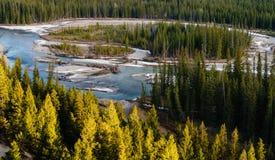 弓河的合流 库存图片