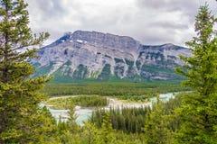 弓河谷从不祥之物观点的在班夫国家公园-加拿大 免版税库存图片