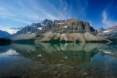 弓湖在班夫国家公园 库存照片