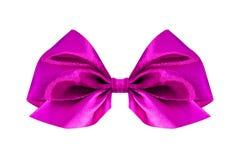 弓礼品粉红色缎 丝带 查出在白色 库存照片