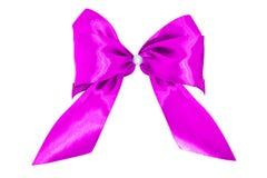 弓礼品粉红色缎 丝带 查出在白色 免版税库存照片