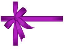 弓礼品紫色丝带向量 免版税库存图片