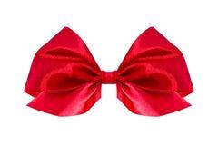 弓礼品红色缎 丝带 查出在白色 免版税库存图片