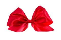 弓礼品红色缎 丝带 查出在白色 库存图片