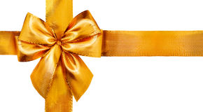 弓礼品金子查出的丝带缎光白 查出的丝带白色 免版税库存照片