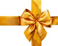 弓礼品金子查出的丝带缎光白 查出的丝带白色 免版税图库摄影