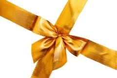 弓礼品金子查出的丝带缎光白 查出的丝带白色 库存照片