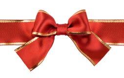 弓红色丝带缎 免版税库存照片