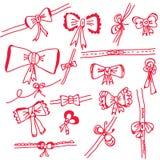 弓被设置的decorational节假日 免版税库存照片
