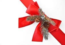 弓装饰红色丝带 免版税库存图片