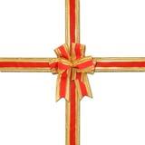弓装饰金子红色丝带 免版税库存照片