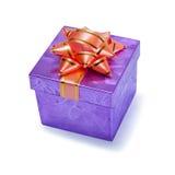 弓配件箱礼品紫色小 库存照片