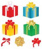 弓配件箱装饰了礼品向量 库存例证