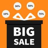 弓配件箱礼品丝带 当前giftbox 大销售万圣夜广告横幅海报 圆的圈子10, 30, 50, 75% o 库存例证