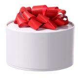 弓配件箱礼品红色丝带 免版税库存图片