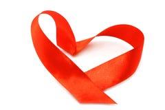 弓重点红色丝带 免版税图库摄影