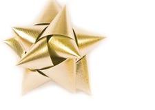 弓金黄圣诞节的装饰 免版税库存照片