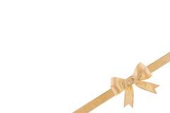 弓金黄丝带 免版税库存照片