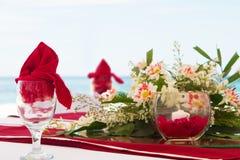 引人注目的中心片断。婚礼装饰 免版税库存图片