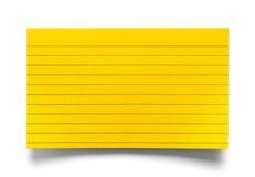 索引卡片黄色 免版税库存图片