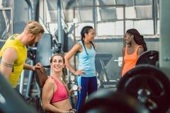 引导他的客户的一位英俊的个人教练员的侧视图在健身房 图库摄影