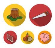 引形钢锯,树桩,与扶手栏杆的一个楼梯,射线 一个锯木厂和木材集合汇集象在平的样式传染媒介 向量例证