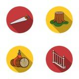 引形钢锯,树桩,与扶手栏杆的一个楼梯,射线 一个锯木厂和木材集合汇集象在平的样式传染媒介 皇族释放例证