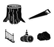 引形钢锯,树桩,与扶手栏杆的一个楼梯,射线 一个锯木厂和木材集合汇集象在黑样式传染媒介 向量例证