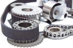 引擎引擎的时间机制 链子,传送带,星,齿轮, 免版税库存图片