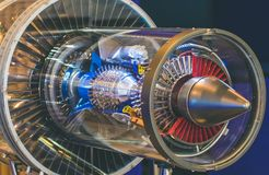 引擎没有维护外套的飞机制造业建筑 库存照片