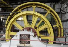 引擎缆索铁路的蒸汽轮子 库存图片