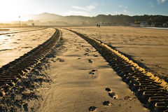 引擎轮胎在一个沙滩的踪影轨道在hendaye 免版税库存图片