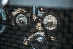 引擎链轮,抽象工业背景,柴油汽车机械 免版税库存照片