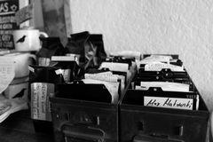 索引文件箱子 免版税库存图片
