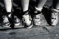 引诱的钓鱼钩开玩笑运动鞋 库存照片