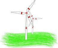 引起可更新的绿色能量的现代风车涡轮 库存照片